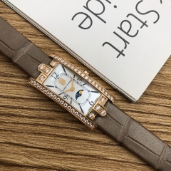 Harry Winston Avenue 32.3*15.6mm 18K Rose Gold White Mother Of Pearl Quartz AVCQMP16RR001