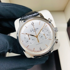 GLASHUTTE Vintage Sixties Chronograph 42mm Stainless Steel White Dial Automatic 1-39-34-03-22-04