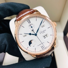 GLASHUTTE Senator Excellence Perpetual Calendar 42mm 18K Rose Gold White Dial Automatic 1-36-02-02-05-30