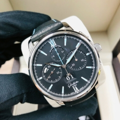GLASHUTTE Senator Chronograph Panoramadatum 42mm Stainless Steel Black Dial Automatic 1-37-01-03-02-35