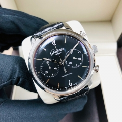 GLASHUTTE Vintage Sixties Chronograph 42mm Stainless Steel Black Dial Automatic 1-39-34-02-22-04