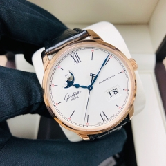 GLASHUTTE  Senator Excellence Panorama Moonphase 40mm 18K Rose Gold White Dial Automatic 1-36-04-02-05-30