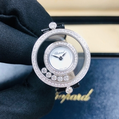 Chopard Happy Diamonds 25.8mm 18K White Gold White Dial Quartz 203957-1201