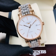 LONGINES Presence 38.5MM Stainless Steel With Rose Gold PVD Coating White Dial Automatic L4.921.1.12.7