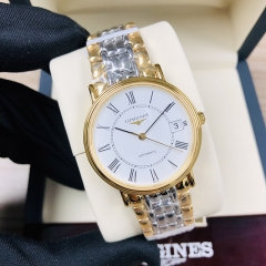 LONGINES Presence 34.5MM Stainless Steel With Yellow Gold PVD Coating White Dial Automatic L4.821.2.11.7