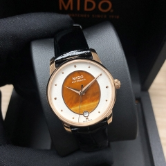 MIDO Baroncelli 33MM Stainless Steel With Rose Gold PVD Coating Orange Dial Automatic M035.207.36.471.00