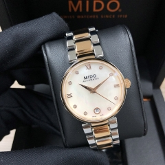 MIDO Baroncelli 33MM Stainless Steel With Rose Gold PVD Coating White Mother Of Pearl Automatic M022.207.22.116.10