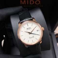 MIDO Baroncelli 33MM Stainless steel with rose gold PVD White Dial Automatic  M027.207.36.260.00