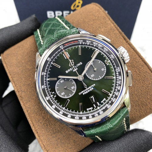 BREITLING Bentley Premier B01 Chronograph 42MM Stainless Steel Green Dial  Automatic AB0118A11L1X1