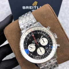 BREITLING Navitimer 1 B01 Chronograph 43MM Stainless Steel Black Dial Automatic AB0121211B1A1