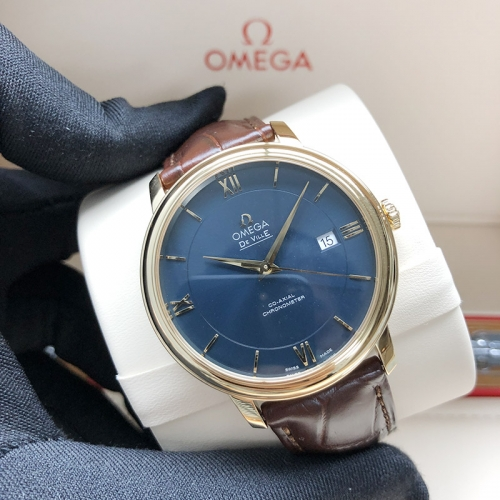 OMEGA De Ville Yellow Gold 39.5MM Blue Dial Automatic 424.53.40.20.03.001