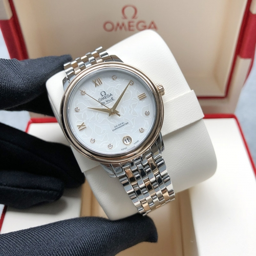 OMEGA De Ville Butterfly Steel-Rose Gold 33MM White Dial Automatic 424.20.33.20.55.001