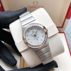 OMEGA Constellation Steel-Rose Gold 24mm White Mother of Pearl Dial Automatic 123.25.24.60.55.002